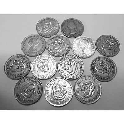 Australia Silver Shillings (13 Different Dates)