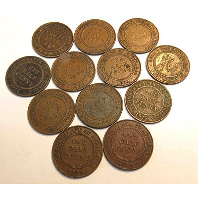 Australia George V Halfpennies (12 different dates)