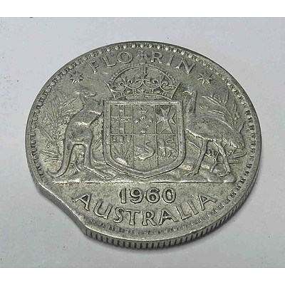 Australia Silver Florin 1960 MINT MIS-STRIKE