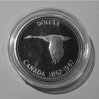 Canada PROOF Sillver Dollar 1967 Canadian Goose in Flight
