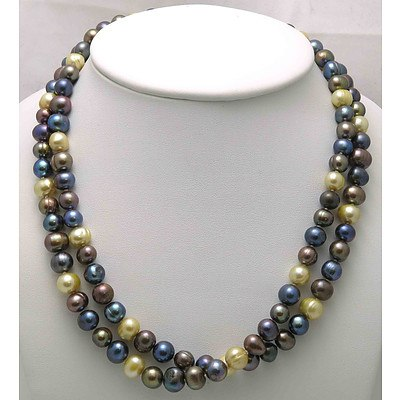 Very Long Multi-colour Cultured Pearl Necklace