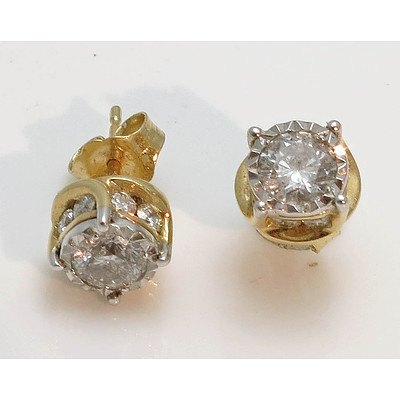 14ct Gold 1 Carat Diamond Earrings