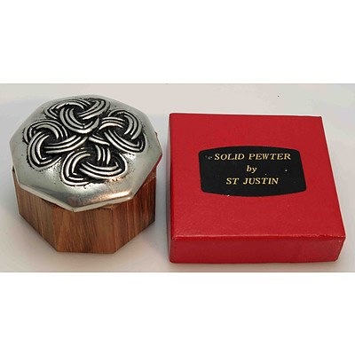 Celtic Pewter & Timber Jewel/Trinket Box