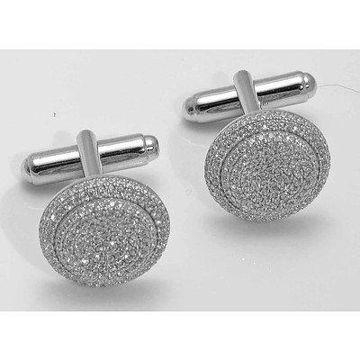 Sterling Silver Cuff-Links CZ-set