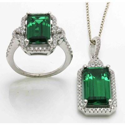 Sterling Silver Ring & Pendant Suite - Green & White CZ