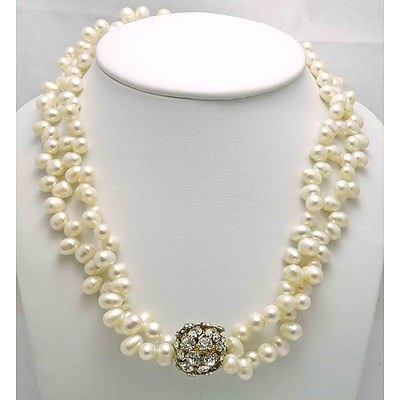 Double strand necklaces of Cultured Pearls - end pierced