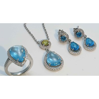 """Sterling Silver Ring & Pendant & Earring Suite - """"""""Topaz"""""""" Blue & White CZ"""