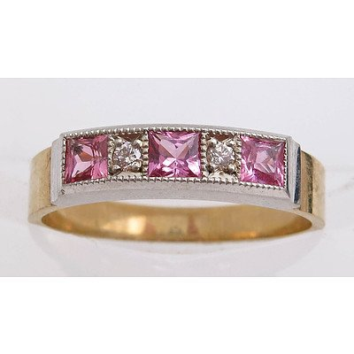9ct Yellow & White Gold Ring - Pink Sapphires & Diamonds