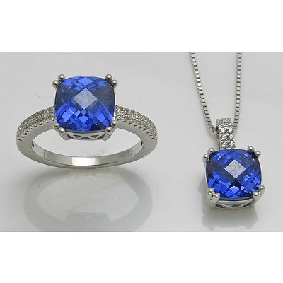 "Sterling Silver Ring & Pendant Suite - """"Tanzanite"""" Purple & White CZ"