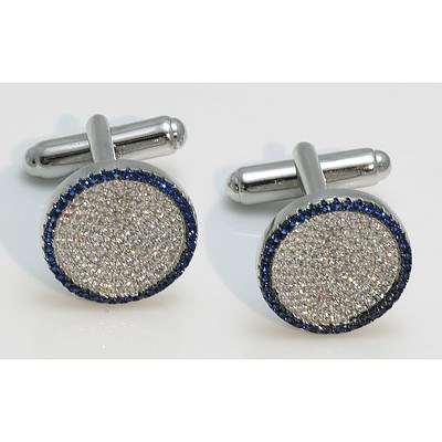 Sterling Silver Cuff-Links - white & blue CZs
