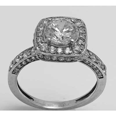 Sterling Silver Ring - central Round Brilliant-cut CZ, enhanced with small white CZs