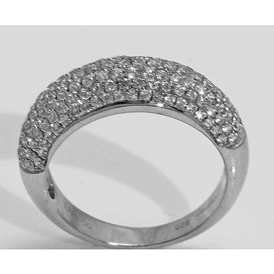 Sterling Silver Ring - pave set with white CZs