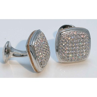 Sterling Silver Cuff Links - pave set with white CZs