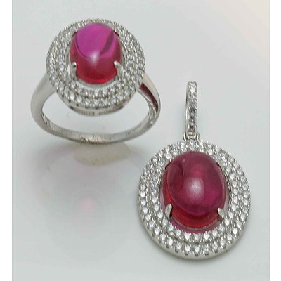 Sterling Silver Ring & Pendant Set - set with Red & white CZs