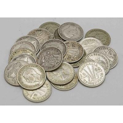 Australia Silver ThreePences (x22)