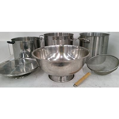 Stainless Steel Crockpots, Bowls, Serving Tray and Strainer
