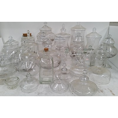 Selection of Glass Jars, Canisters, Covers and Lids - Lot of 30