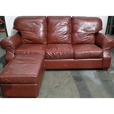 Moran Two Seater and Three Seater Leather Lounge With Ottoman
