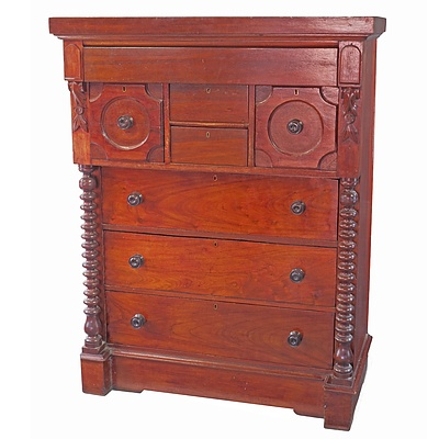 Australian Cedar Chest of Drawers with Bobbin Turned Columns Late 19 Century