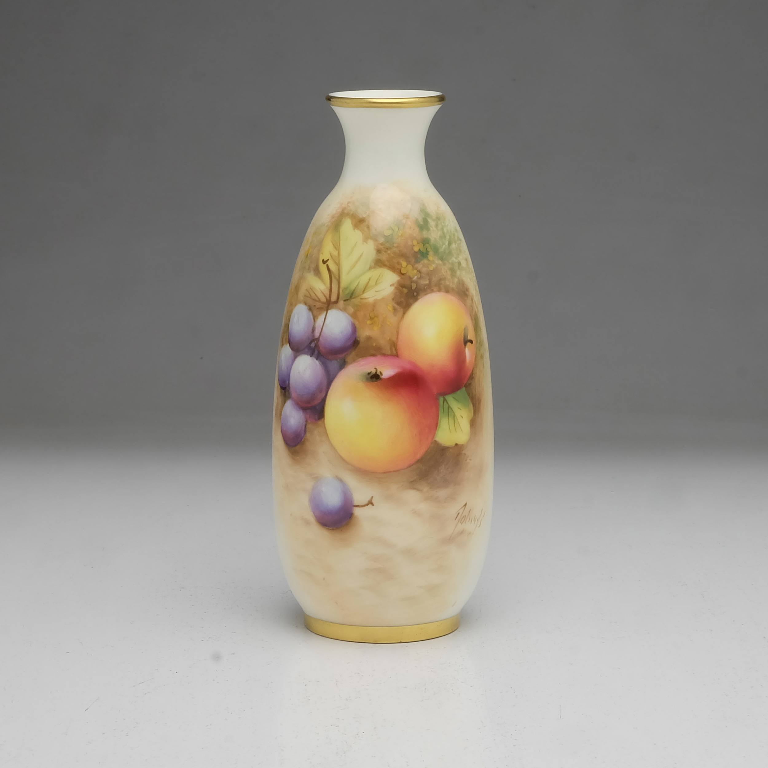 'Frank Roberts Hand Painted Royal Worcester Vase with Apples and Plums, 2491'