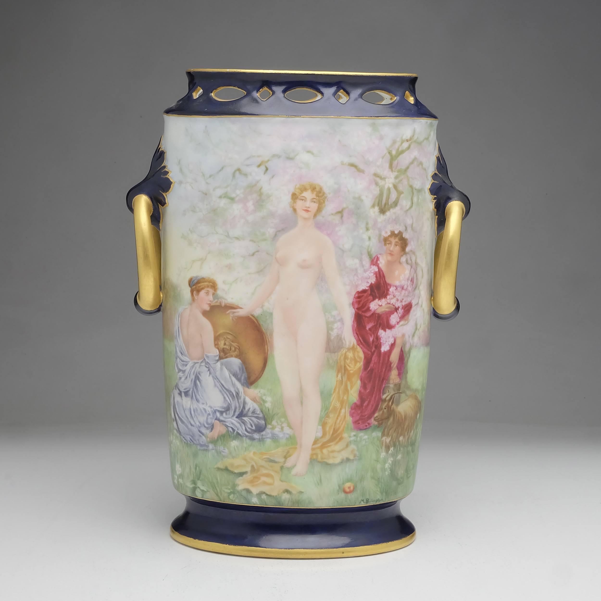 'M Billington Hand Painted French B&C Limoges Mantle Vase, The Judgement of Paris After S.J. Solomon'