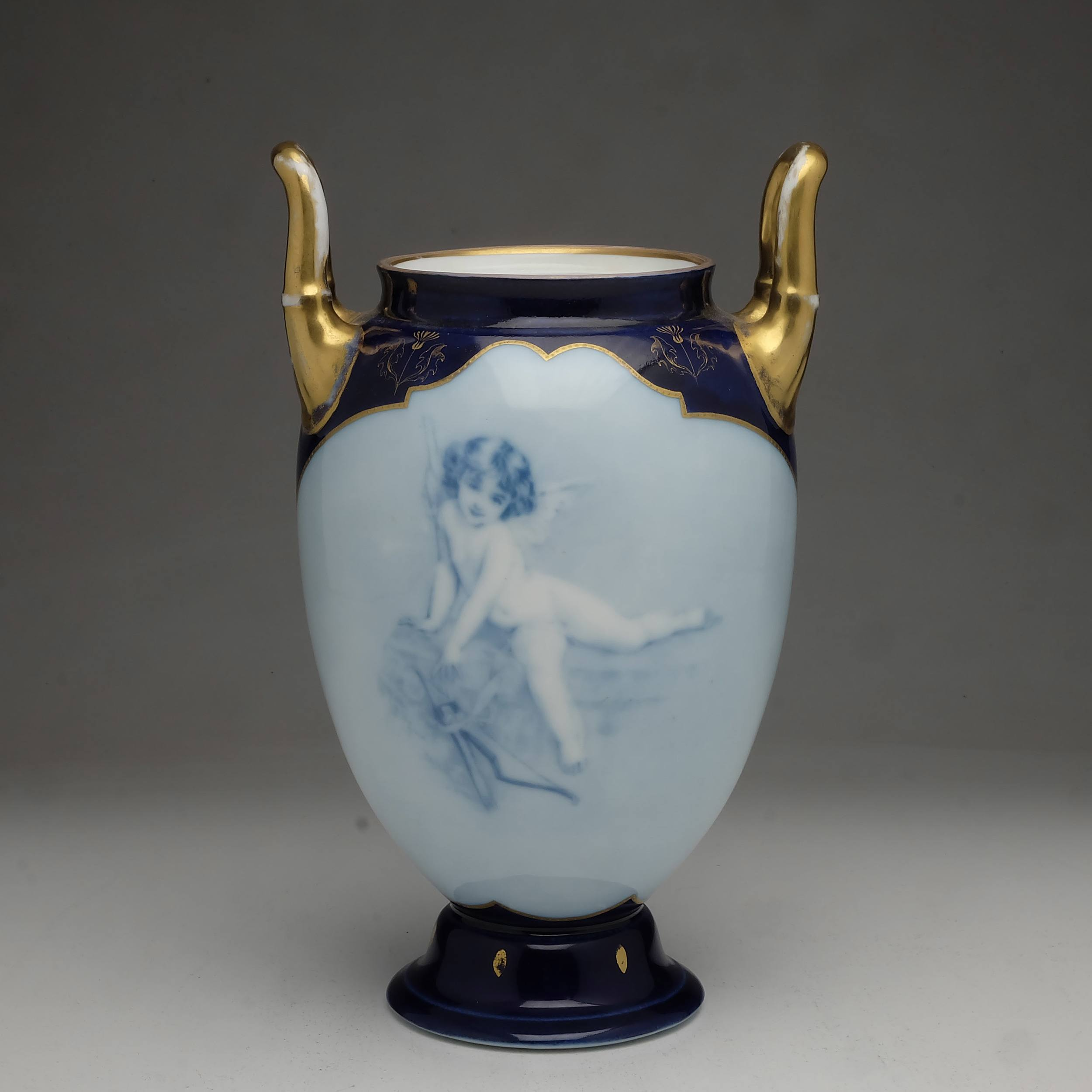 'Antique Rosenthal Hand Painted Cherub Urn Circa 1906'