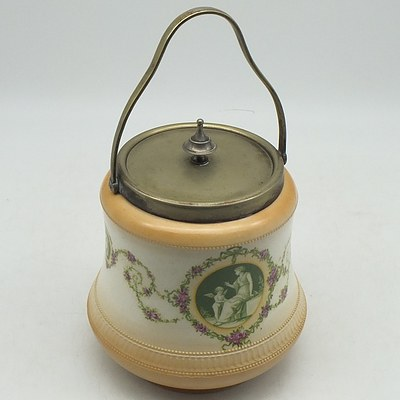 Late Victorian Hand Painted Biscuit Barrel With Silver Plated Lid