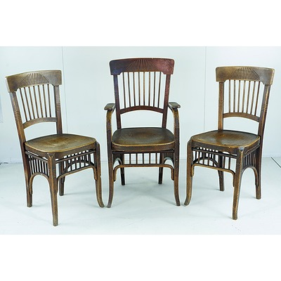 Three Continental Jugendstil Style Bentwood Chairs Circa 1905
