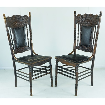 Six American Beech Pressback Cottage Chairs Circa 1900