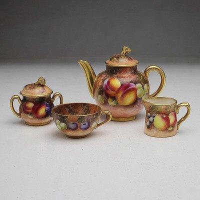 Frank Roberts Hand Painted Fruit Royal Worcester Miniature Tea Service