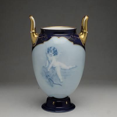 Antique Rosenthal Hand Painted Cherub Urn Circa 1906