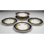 Four Antique Copland Hand Painted Plates and a Matching Comport