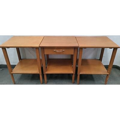 Three Ash Veneer Occasional Tables