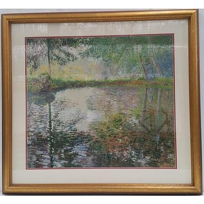 Framed Print of Monet's Pond at Montgeron