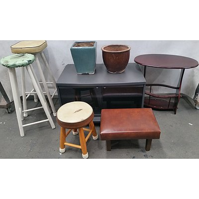 Selection of Household Furniture and Two Ceramic Pots