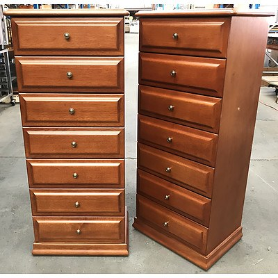 Two Berryman Honeywood Stained Tallboys