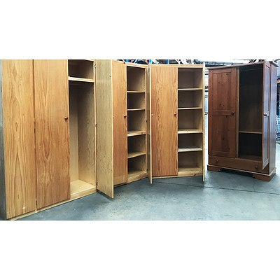 Four Large Stained Pine Cupboards & Wardrobes