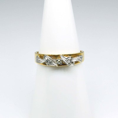 18ct Yellow Gold Eternity Ring With Raised White Gold Decoration and Five Single Cut Diamonds