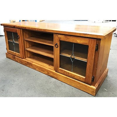 Stained Pine Lowline Entertainment Cabinet