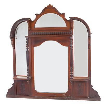 Edwardian Mahogany Overmantle Mirror