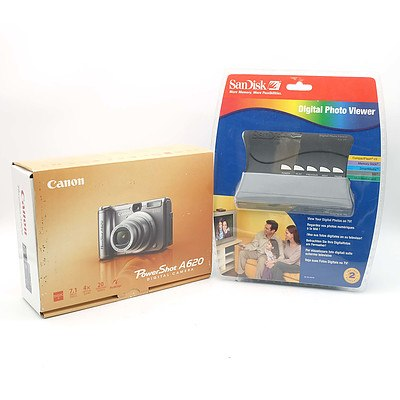 Canon Powershot A620 Digital Camera and A Sandisk Digital Photo Viewer