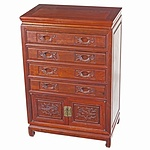 Vintage Chinese Rosewood Cutlery Chest of Drawers Circa 1970s