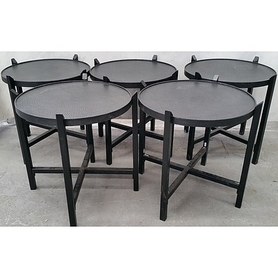 Round Cafe Coffee Tables - Lot of Five