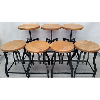 Round Cafe Stools - Lot of Seven