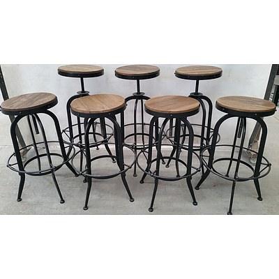 Rustic Cafe Stools - Lot of Eight