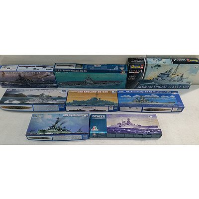 Trumpeter, Revell and Italeri Model War Ships - Lot of Eight