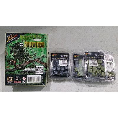 Seven Warlord Games Bolt Action Dice Sets and Six Dinoclypse Now Expansion Packs - New