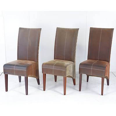Six Cabana Loom Woven Rattan Backed Dining Chairs