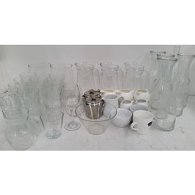 Selection of Commercial Glassware, Drinkware, Crockery and Food Trays