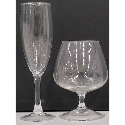 Glass Brandy Glasses and Champagne Flutes - Lot of 14